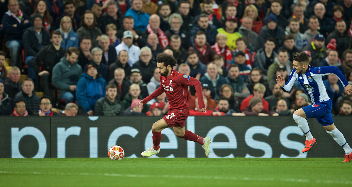 LIVERPOOL, ENGLAND - Tuesday, April 9, 2019: Priseless... Liverpool's Mohamed Salah during the UEFA Champions League Quarter-Final 1st Leg match between Liverpool FC and FC Porto at Anfield. (Pic by David Rawcliffe/Propaganda)