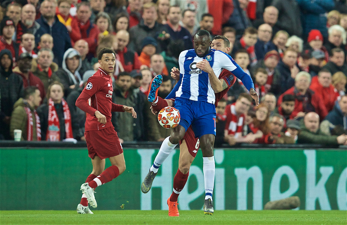 LIVERPOOL, ENGLAND - Tuesday, April 9, 2019: FC Porto's Moussa Marega (L) and Dejan Lovren during the UEFA Champions League Quarter-Final 1st Leg match between Liverpool FC and FC Porto at Anfield. (Pic by David Rawcliffe/Propaganda)