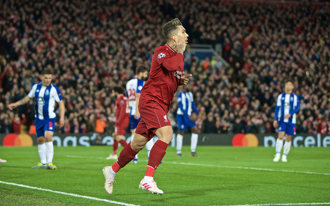 LIVERPOOL, ENGLAND - Tuesday, April 9, 2019: Liverpool's Roberto Firmino celebrates scoring the second goal during the UEFA Champions League Quarter-Final 1st Leg match between Liverpool FC and FC Porto at Anfield. (Pic by David Rawcliffe/Propaganda)