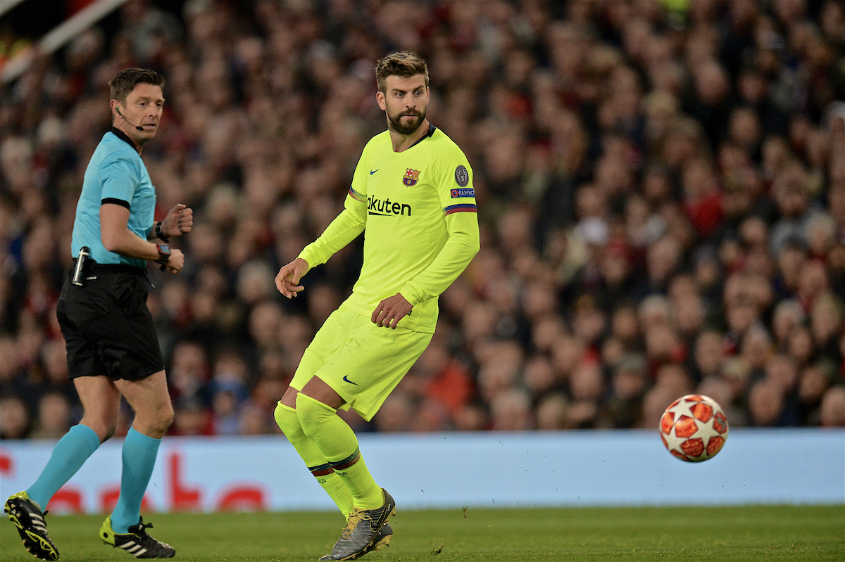 MANCHESTER, ENGLAND - Thursday, April 11, 2019: Barcelona's Gerard Piqué during the UEFA Champions League Quarter-Final 1st Leg match between Manchester United FC and FC Barcelona at Old Trafford. Barcelona won 1-0. (Pic by David Rawcliffe/Propaganda)