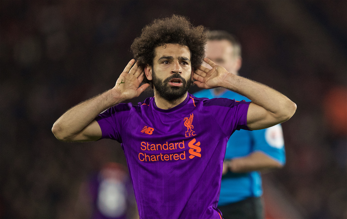 SOUTHAMPTON, ENGLAND - Friday, April 5, 2019: Liverpool's Mohamed Salah celebrates scoring the second goal during the FA Premier League match between Southampton FC and Liverpool FC at the St. Mary's Stadium. (Pic by David Rawcliffe/Propaganda)