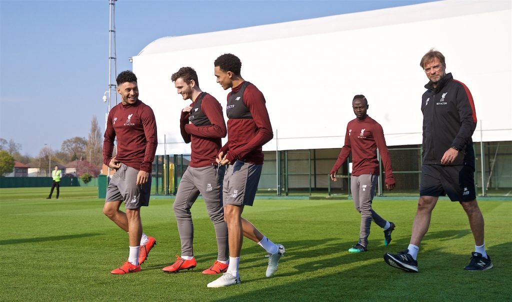 LIVERPOOL, ENGLAND - Monday, April 8, 2019: Liverpool's Alex Oxlade-Chamberlain, Andy Robertson, Trent Alexander-Arnold, Sadio Mane and manager Jürgen Klopp during a training session at Melwood Training Ground ahead of the UEFA Champions League Quarter-Final 1st Leg match between Liverpool FC and FC Porto. (Pic by David Rawcliffe/Propaganda)