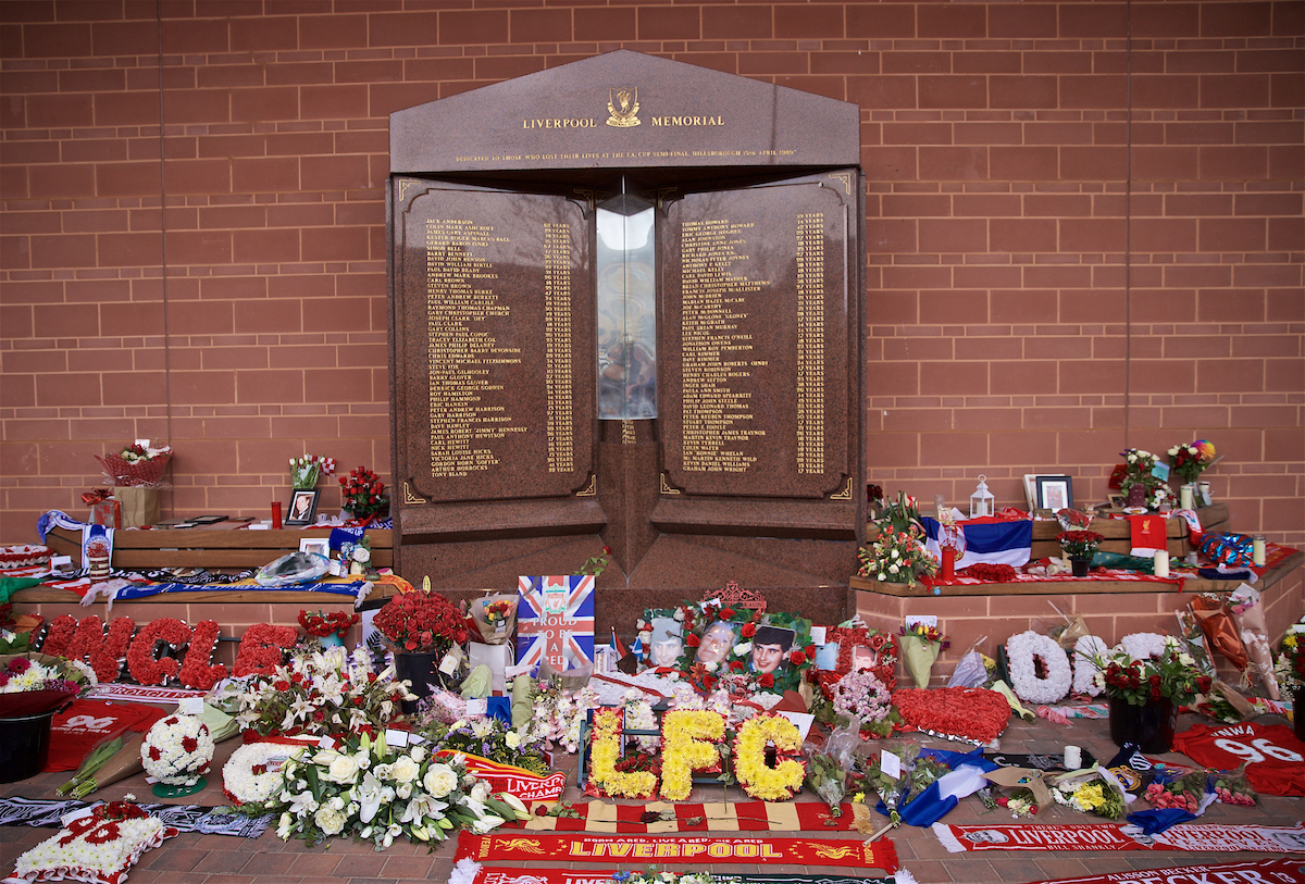 LIVERPOOL, ENGLAND - Sunday, April 14, 2019: Flowers and tributes left by supporters at the memorial to the 96 victims of the Hillsborough Stadium Disaster, the 15th of April marks the 30th anniversary of the disaster, pictured before the FA Premier League match between Liverpool FC and Chelsea FC at Anfield. (Pic by David Rawcliffe/Propaganda)