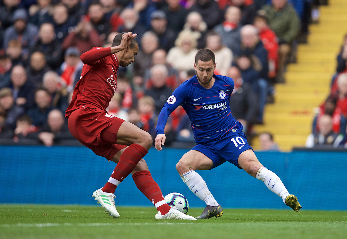LIVERPOOL, ENGLAND - Sunday, April 14, 2019: Chelsea's Eden Hazard (R) and Liverpool's Joel Matip during the FA Premier League match between Liverpool FC and Chelsea FC at Anfield. (Pic by David Rawcliffe/Propaganda)