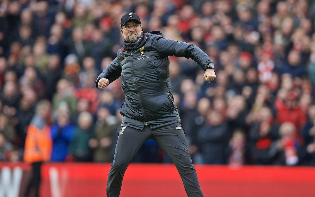 LIVERPOOL, ENGLAND - Sunday, April 14, 2019: Liverpool's manager J¸rgen Klopp celebrates after his side's 2-0 victory during the FA Premier League match between Liverpool FC and Chelsea FC at Anfield. (Pic by David Rawcliffe/Propaganda)