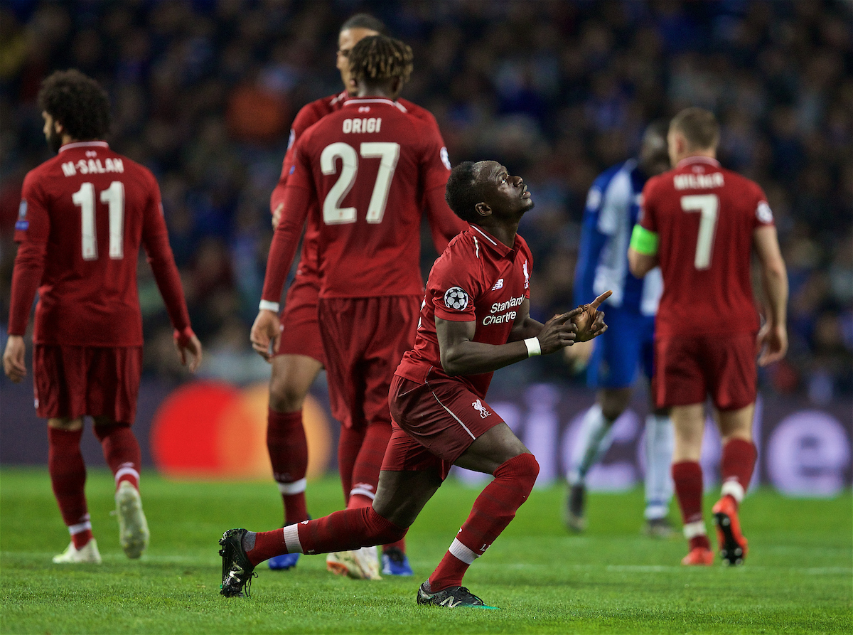 PORTO, PORTUGAL - Wednesday, April 17, 2019: Liverpool's Sadio Mane celebrates scoring the first goal during the UEFA Champions League Quarter-Final 2nd Leg match between FC Porto and Liverpool FC at Estádio do Dragão. (Pic by David Rawcliffe/Propaganda)