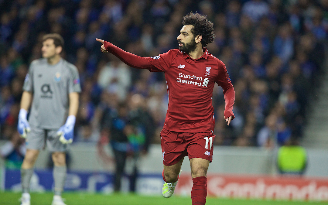 "PORTO, PORTUGAL - Wednesday, April 17, 2019: Liverpool's Mohamed Salah celebrates scoring the second goal during the UEFA Champions League Quarter-Final 2nd Leg match between FC Porto and Liverpool FC at Est·dio do Drag""o. (Pic by David Rawcliffe/Propaganda)"