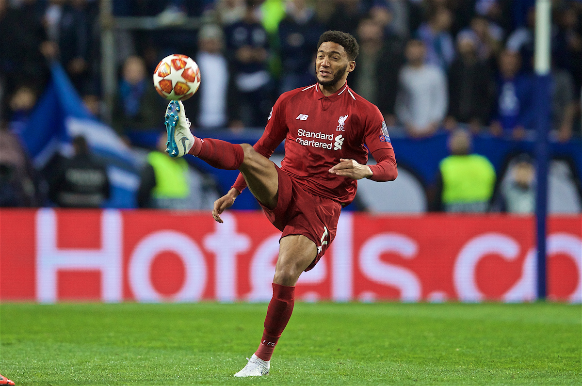 PORTO, PORTUGAL - Wednesday, April 17, 2019: Liverpool's Joe Gomez during the UEFA Champions League Quarter-Final 2nd Leg match between FC Porto and Liverpool FC at Estádio do Dragão. (Pic by David Rawcliffe/Propaganda)