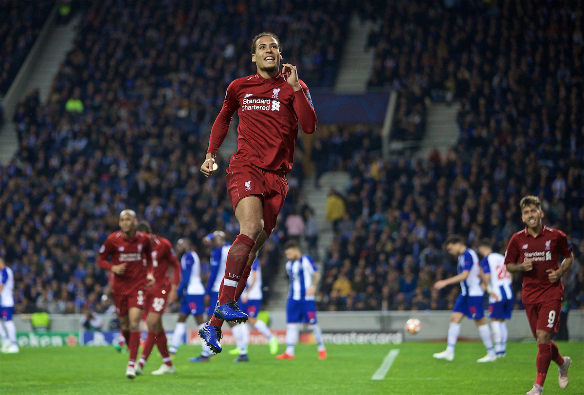 PORTO, PORTUGAL - Wednesday, April 17, 2019: Liverpool's Virgil van Dijk celebrates scoring the fourth goal during the UEFA Champions League Quarter-Final 2nd Leg match between FC Porto and Liverpool FC at Estádio do Dragão. (Pic by David Rawcliffe/Propaganda)