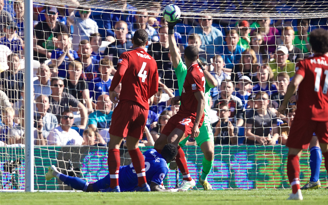 CARDIFF, WALES - Saturday, April 20, 2019: Liverpool's goalkeeper Alisson Becker makes a save during the FA Premier League match between Cardiff City FC and Liverpool FC at the Cardiff City Stadium. (Pic by David Rawcliffe/Propaganda)
