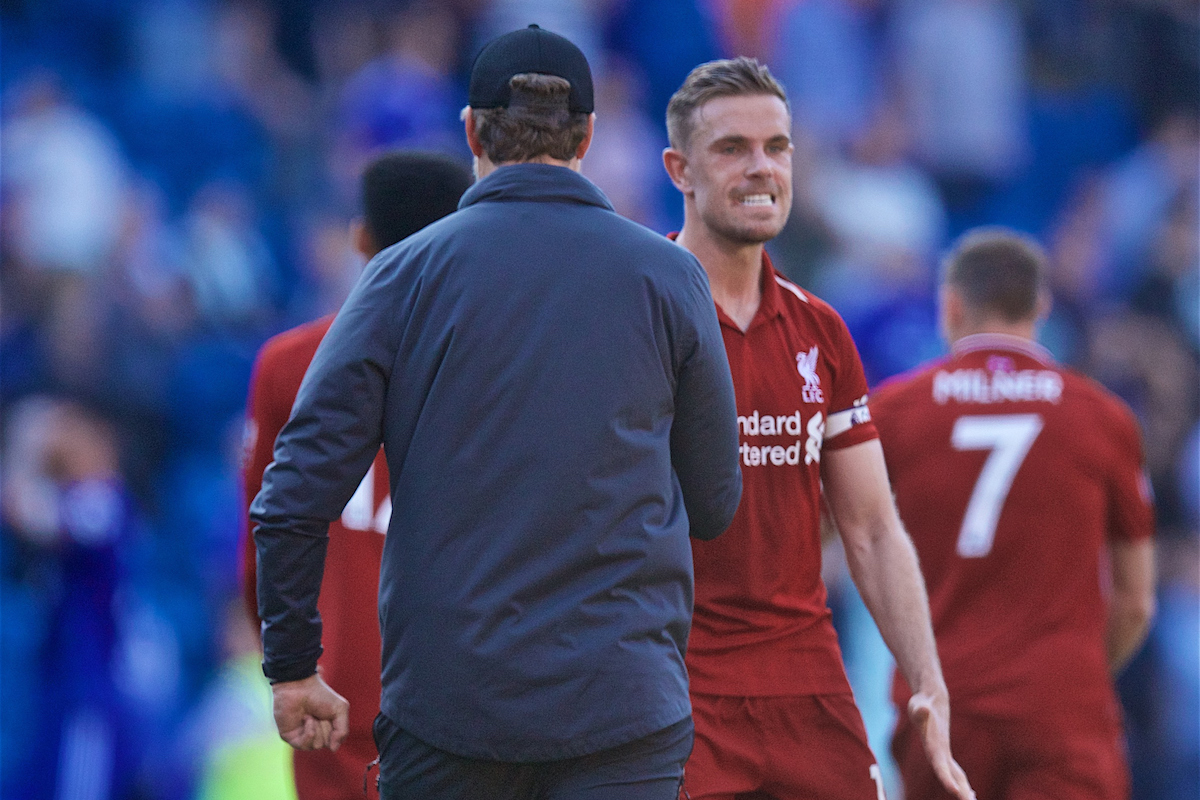 CARDIFF, WALES - Saturday, April 20, 2019: Liverpool's captain Jordan Henderson celebrates with manager J¸rgen Klopp after the 2-0 victory during the FA Premier League match between Cardiff City FC and Liverpool FC at the Cardiff City Stadium. (Pic by David Rawcliffe/Propaganda)