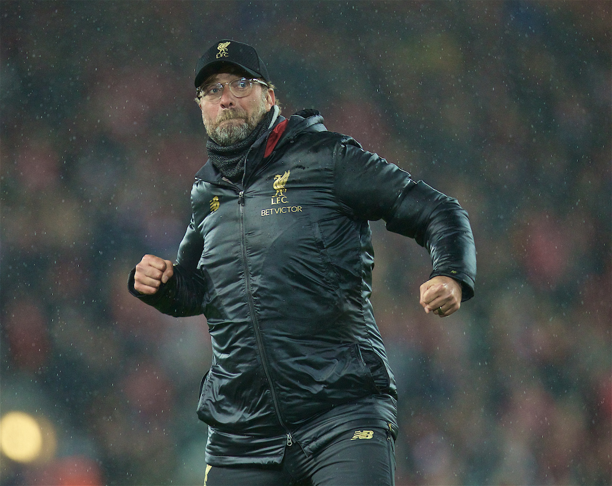 LIVERPOOL, ENGLAND - Friday, April 26, 2019: Liverpool's manager Jürgen Klopp performs his traditional triple air punch in front of the Spion Kop after the FA Premier League match between Liverpool FC and Huddersfield Town AFC at Anfield. Liverpool won 5-0. (Pic by David Rawcliffe/Propaganda)