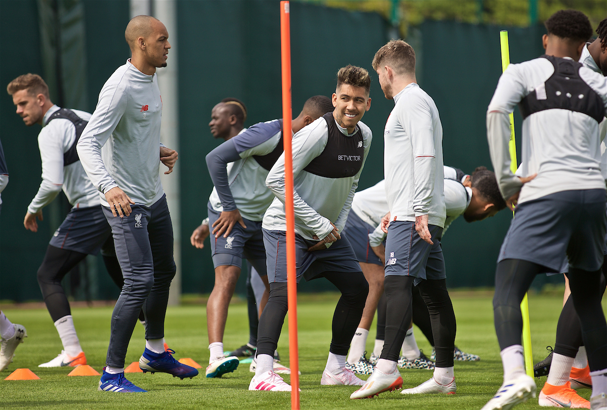 LIVERPOOL, ENGLAND - Tuesday, April 30, 2019: Liverpool's Roberto Firmino during a training session at Melwood Training Ground ahead of the UEFA Champions League Semi-Final 1st Leg match between FC Barcelona and Liverpool FC. (Pic by Laura Malkin/Propaganda)