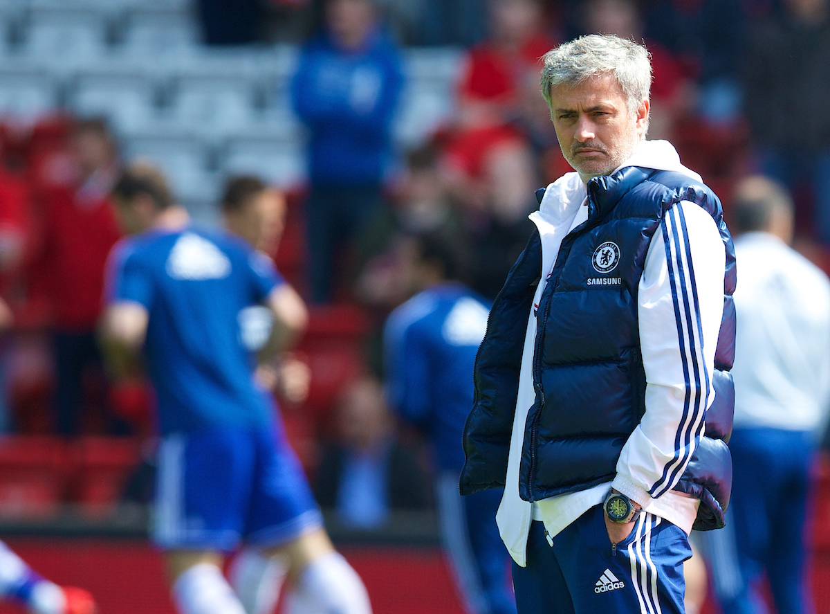 LIVERPOOL, ENGLAND - Sunday, April 27, 2014: A nervous looking Chelsea manager Jose Mourinho on the pitch before the Premiership match against Liverpool at Anfield. (Pic by David Rawcliffe/Propaganda)