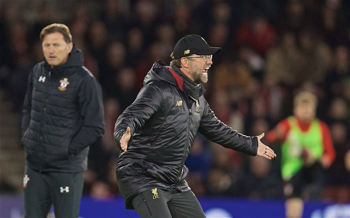 SOUTHAMPTON, ENGLAND - Friday, April 5, 2019: Liverpool's manager Jürgen Klopp reacts during the FA Premier League match between Southampton FC and Liverpool FC at the St. Mary's Stadium. (Pic by David Rawcliffe/Propaganda)