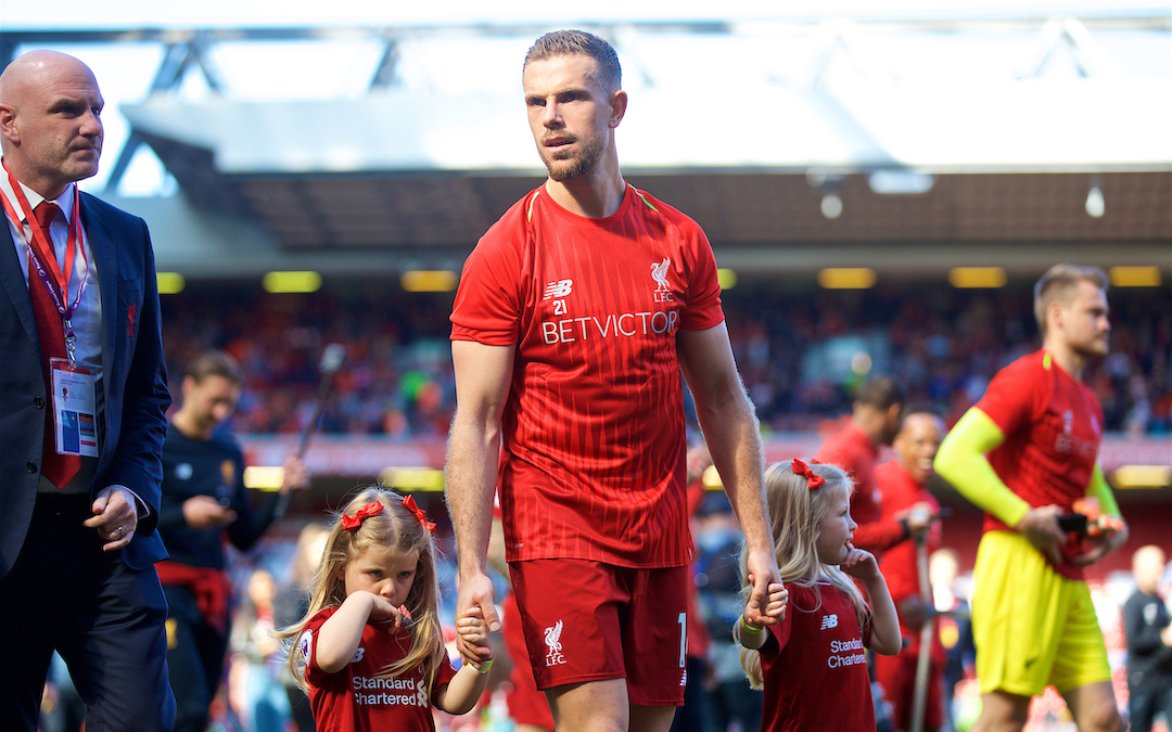LIVERPOOL, ENGLAND - Sunday, May 13, 2018: Liverpool's captain Jordan Henderson with his daughters on the pitch during the players' lap of honour after the FA Premier League match between Liverpool FC and Brighton & Hove Albion FC at Anfield. Liverpool won 4-0 and finished 4th. (Pic by David Rawcliffe/Propaganda)