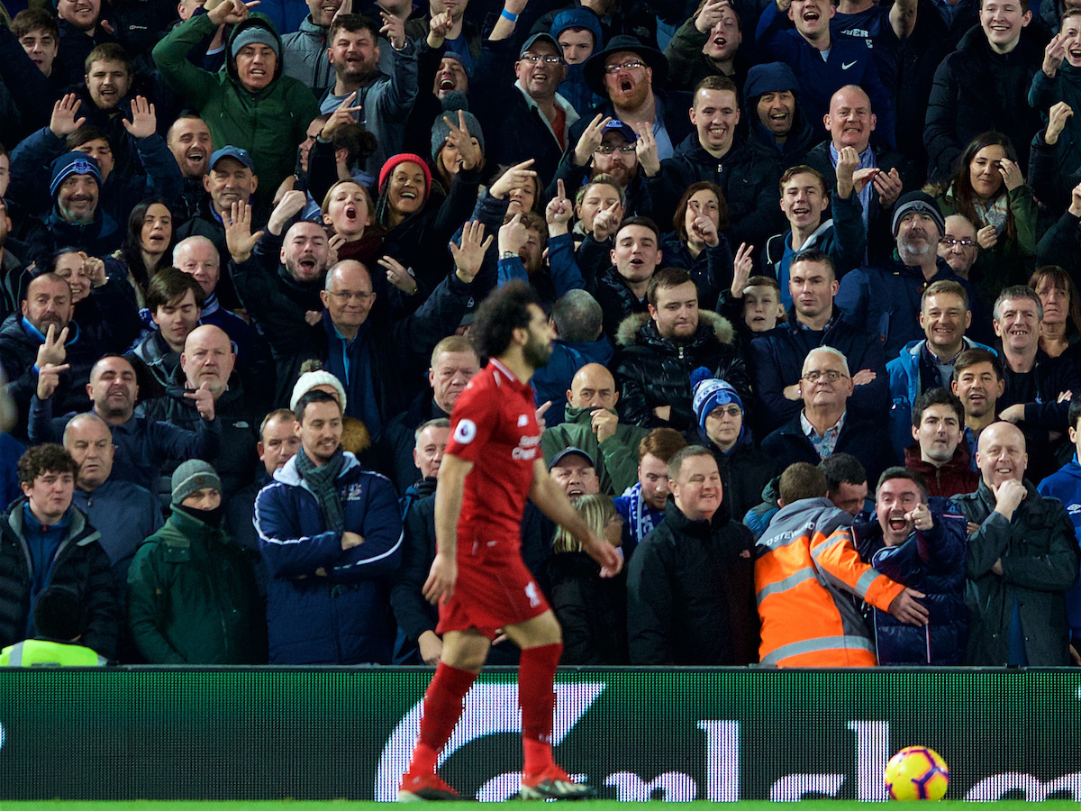 LIVERPOOL, ENGLAND - Sunday, December 2, 2018: Everton supporters gesture towards Liverpool's Mohamed Salah during the FA Premier League match between Liverpool FC and Everton FC at Anfield, the 232nd Merseyside Derby. (Pic by Paul Greenwood/Propaganda)