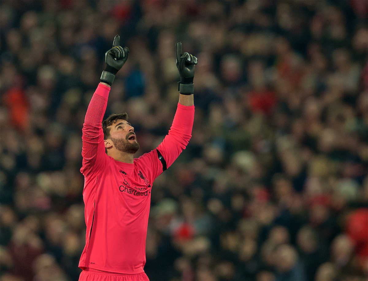 LIVERPOOL, ENGLAND - Wednesday, February 27, 2019: Liverpool's goalkeeper Alisson Becker celebrates as his side score the second goal during the FA Premier League match between Liverpool FC and Watford FC at Anfield. (Pic by Paul Greenwood/Propaganda)
