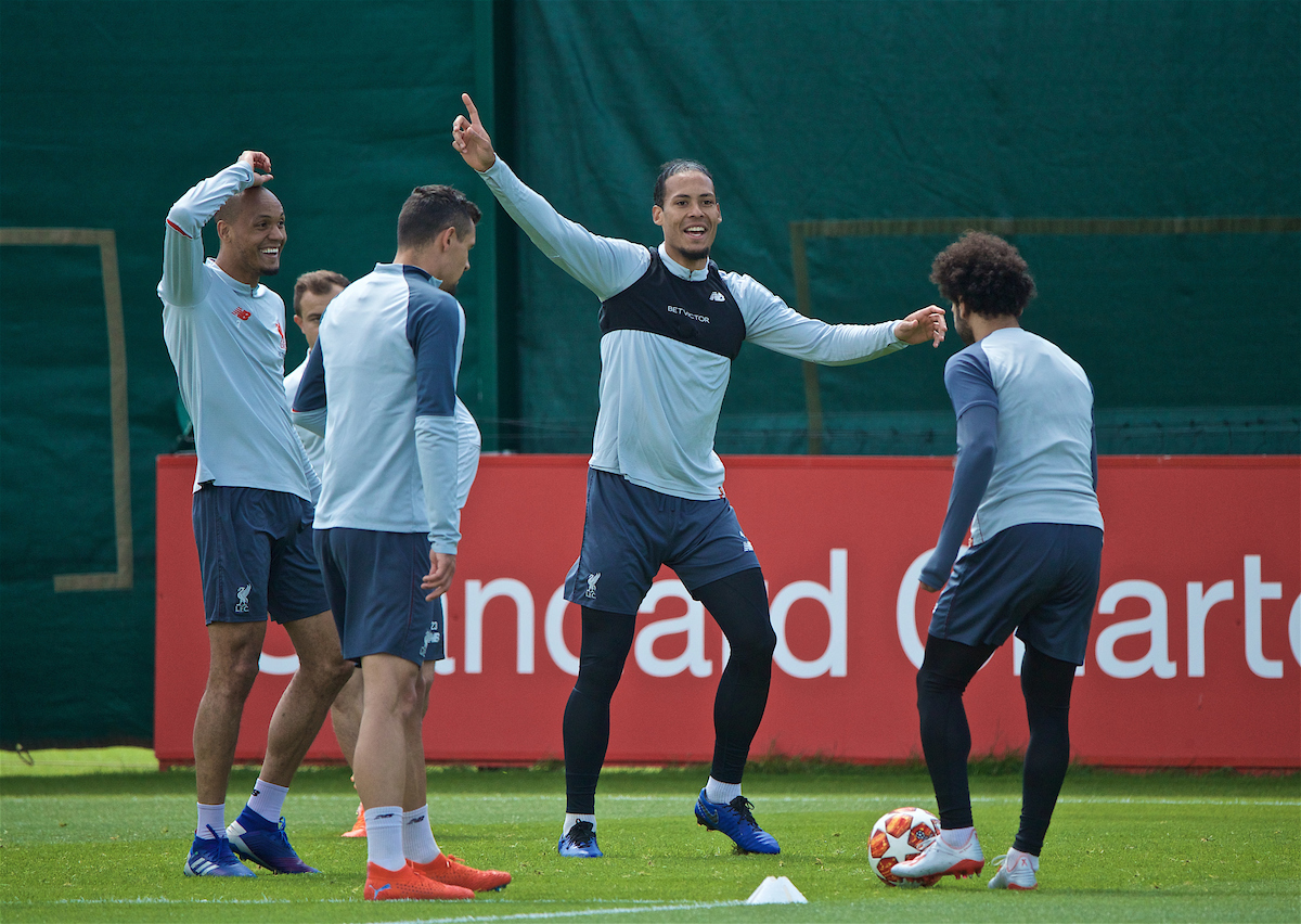 LIVERPOOL, ENGLAND - Tuesday, May 28, 2019: Liverpool's Virgil van Dijk during a training session at Melwood Training Ground ahead of the UEFA Champions League Final match between Tottenham Hotspur FC and Liverpool FC. (Pic by David Rawcliffe/Propaganda)