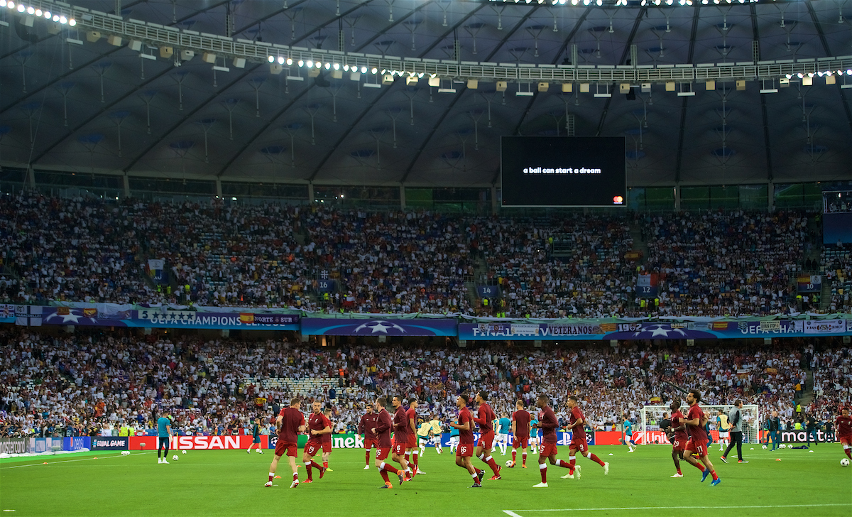 KIEV, UKRAINE - Saturday, May 26, 2018: Liverpool players during the pre-match warm-up before the UEFA Champions League Final match between Real Madrid CF and Liverpool FC at the NSC Olimpiyskiy. (Pic by Peter Powell/Propaganda)