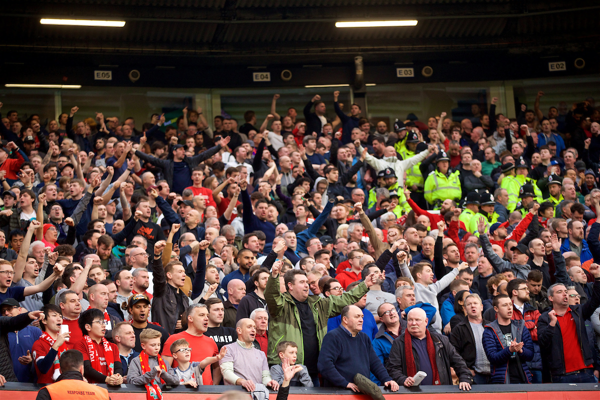 MANCHESTER, ENGLAND - Sunday, February 24, 2019: Liverpool supporters celebrate going top of the league after the FA Premier League match between Manchester United FC and Liverpool FC at Old Trafford. The game ended in a 0-0 draw. (Pic by David Rawcliffe/Propaganda)