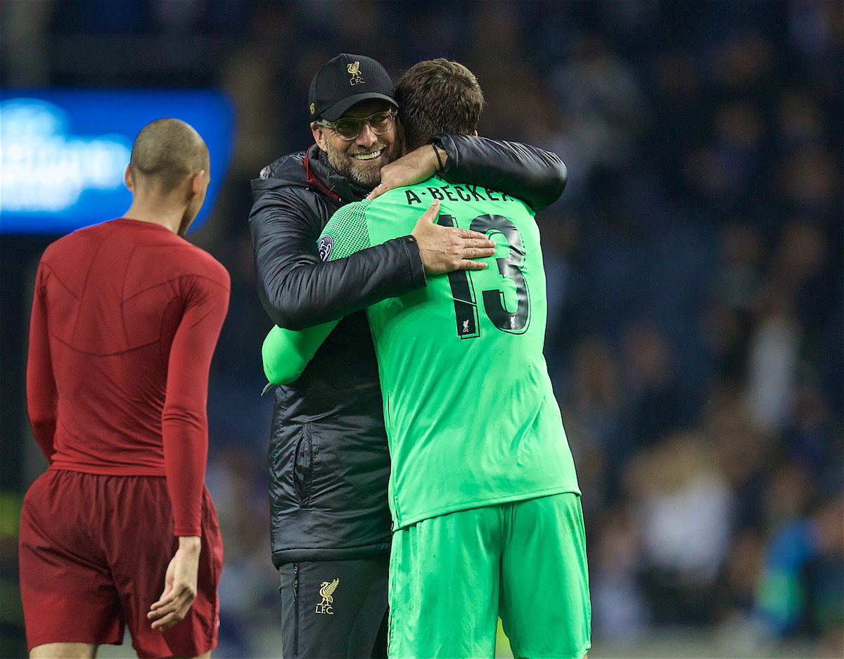 PORTO, PORTUGAL - Wednesday, April 17, 2019: Liverpool's manager Jürgen Klopp celebrates with goalkeeper Alisson Becker after the 4-1 (6-1 on aggregate) victory during the UEFA Champions League Quarter-Final 2nd Leg match between FC Porto and Liverpool FC at Estádio do Dragão. (Pic by David Rawcliffe/Propaganda)
