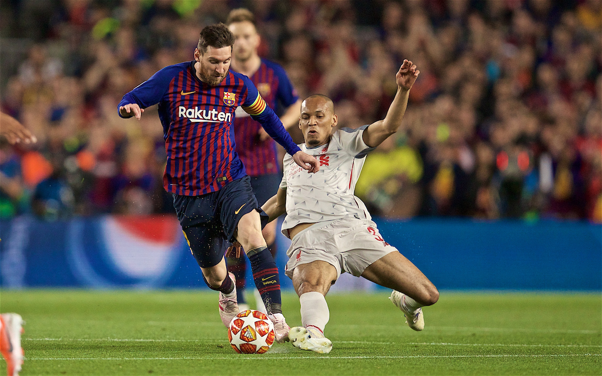 BARCELONA, SPAIN - Wednesday, May 1, 2019: Liverpool's Fabio Henrique Tavares 'Fabinho' (R) and FC Barcelona's Lionel Messi during the UEFA Champions League Semi-Final 1st Leg match between FC Barcelona and Liverpool FC at the Camp Nou. (Pic by David Rawcliffe/Propaganda)