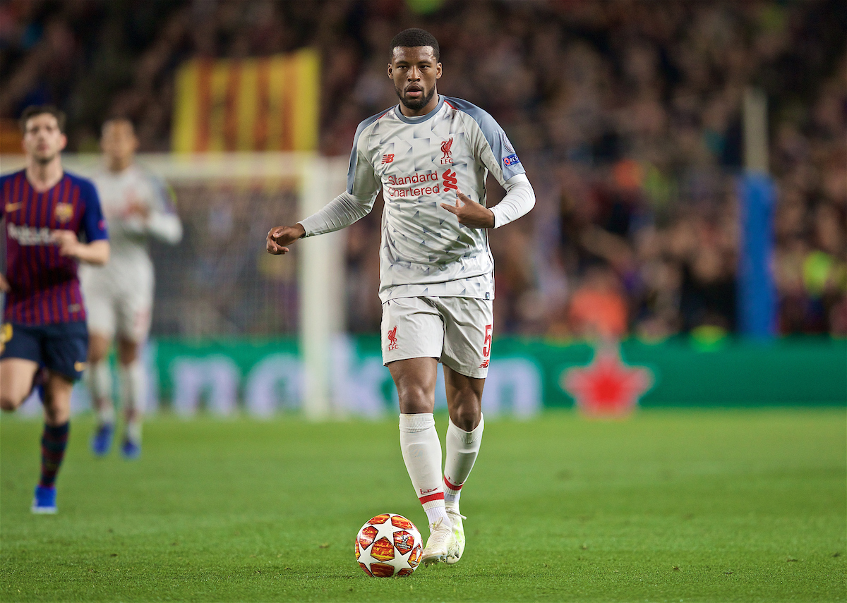 BARCELONA, SPAIN - Wednesday, May 1, 2019: Liverpool's Georginio Wijnaldum during the UEFA Champions League Semi-Final 1st Leg match between FC Barcelona and Liverpool FC at the Camp Nou. (Pic by David Rawcliffe/Propaganda)