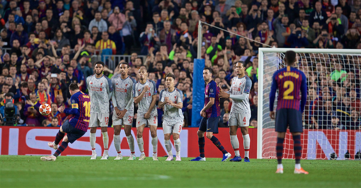 BARCELONA, SPAIN - Wednesday, May 1, 2019: FC Barcelona's Lionel Messi scores the third goal from a free-kick during the UEFA Champions League Semi-Final 1st Leg match between FC Barcelona and Liverpool FC at the Camp Nou. (Pic by David Rawcliffe/Propaganda)