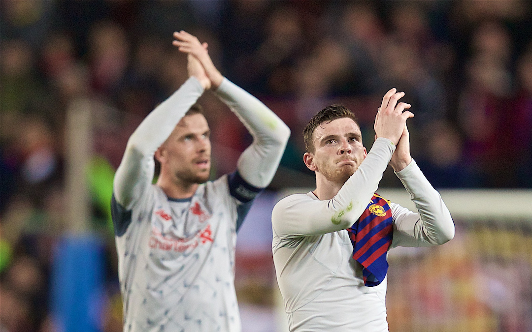BARCELONA, SPAIN - Wednesday, May 1, 2019: Liverpool's Andy Robertson looks dejected after during the UEFA Champions League Semi-Final 1st Leg match between FC Barcelona and Liverpool FC at the Camp Nou. Liverpool lost 3-0. (Pic by David Rawcliffe/Propaganda)