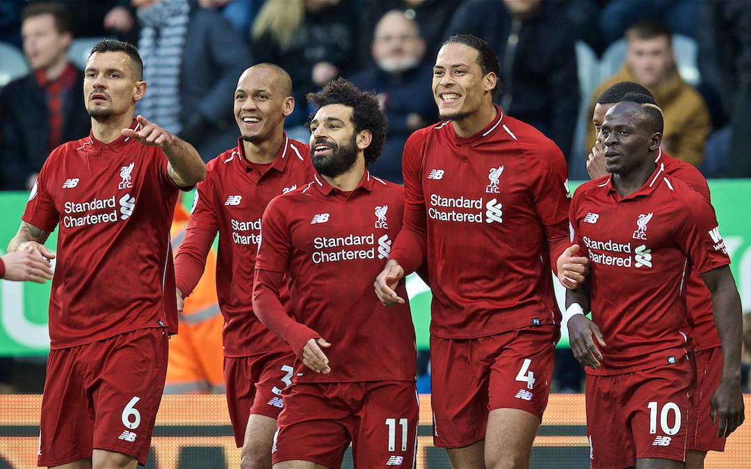 NEWCASTLE-UPON-TYNE, ENGLAND - Saturday, May 4, 2019: Liverpool's Virgil van Dijk celebrates scoring the first goal with a header with team-mates during the FA Premier League match between Newcastle United FC and Liverpool FC at St. James' Park. (Pic by David Rawcliffe/Propaganda)