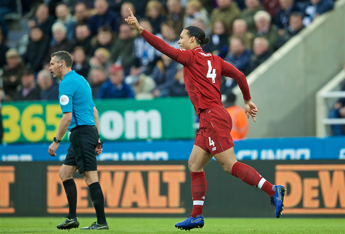 NEWCASTLE-UPON-TYNE, ENGLAND - Saturday, May 4, 2019: Liverpool's Virgil van Dijk celebrates scoring the first goal during the FA Premier League match between Newcastle United FC and Liverpool FC at St. James' Park. (Pic by David Rawcliffe/Propaganda)