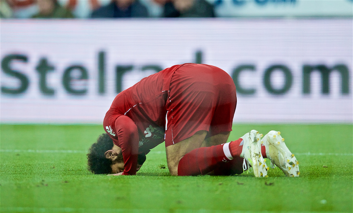 NEWCASTLE-UPON-TYNE, ENGLAND - Saturday, May 4, 2019: Liverpool's Mohamed Salah kneels to pray as he celebrates scoring the second goal during the FA Premier League match between Newcastle United FC and Liverpool FC at St. James' Park. (Pic by David Rawcliffe/Propaganda)