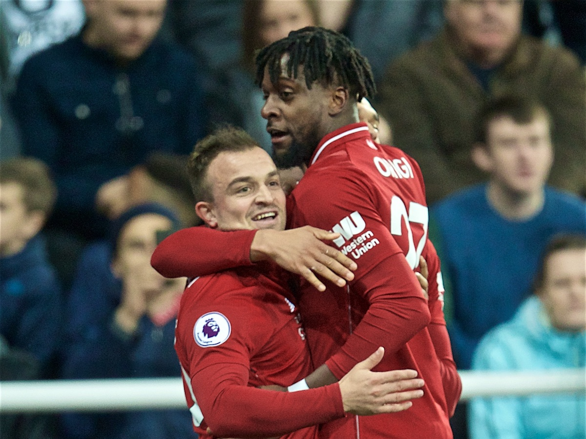 NEWCASTLE-UPON-TYNE, ENGLAND - Saturday, May 4, 2019: Liverpool's Divock Origi (R) celebrates scoring the third goal with team-mate Xherdan Shaqiri (L) during the FA Premier League match between Newcastle United FC and Liverpool FC at St. James' Park. (Pic by David Rawcliffe/Propaganda)