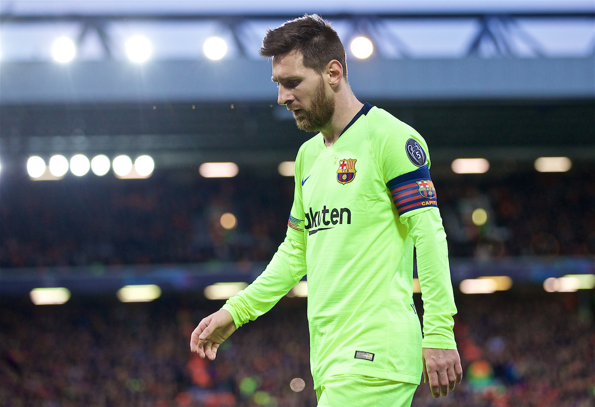 LIVERPOOL, ENGLAND - Tuesday, May 7, 2019: FC Barcelona's Lionel Messi during the UEFA Champions League Semi-Final 2nd Leg match between Liverpool FC and FC Barcelona at Anfield. (Pic by David Rawcliffe/Propaganda)