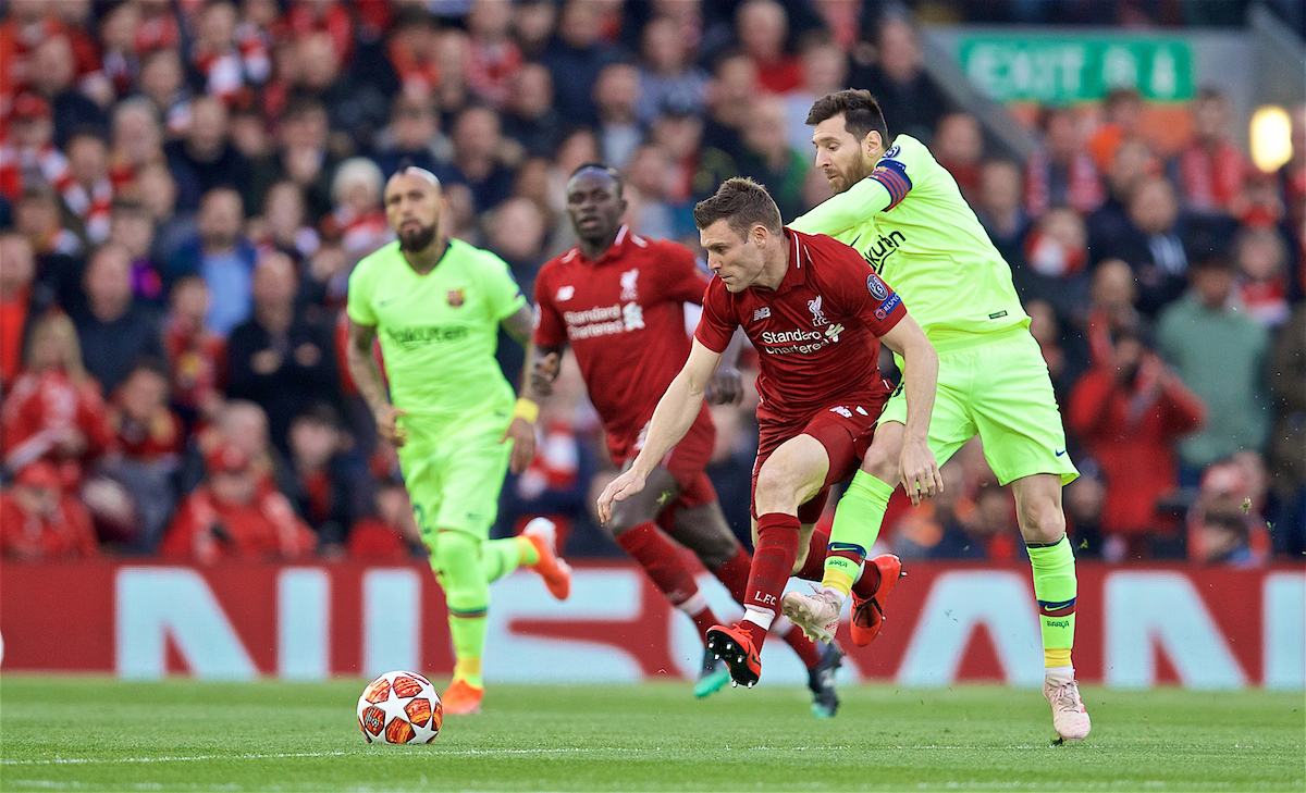LIVERPOOL, ENGLAND - Tuesday, May 7, 2019: Liverpool's James Milner during the UEFA Champions League Semi-Final 2nd Leg match between Liverpool FC and FC Barcelona at Anfield. (Pic by David Rawcliffe/Propaganda)