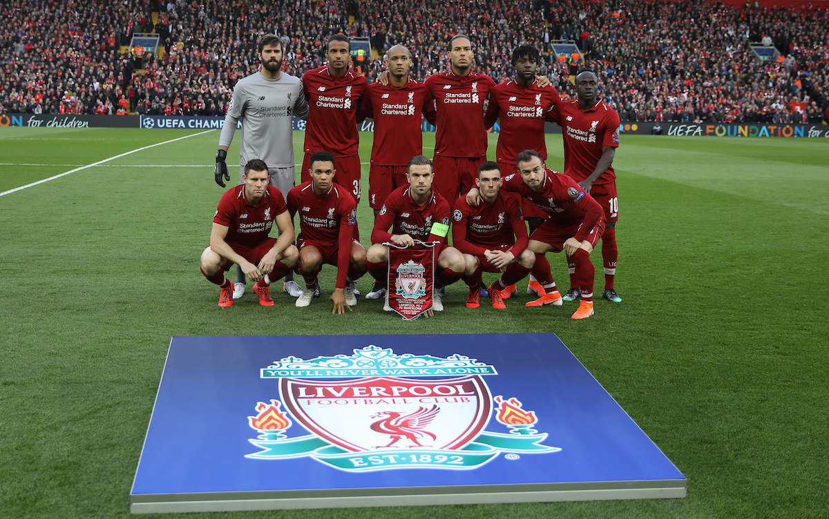 LIVERPOOL, ENGLAND - Tuesday, May 7, 2019: Liverpool's players line-up for a team group photograph before the UEFA Champions League Semi-Final 2nd Leg match between Liverpool FC and FC Barcelona at Anfield. Back row L-R: goalkeeper Alisson Becker, Joel Matip, Fabio Henrique Tavares 'Fabinho', Virgil van Dijk, Divock Origi, Sadio Mane. Front row L-R: James Milner, Trent Alexander-Arnold, captain Jordan Henderson, Andy Robertson, Xherdan Shaqiri.(Pic by David Rawcliffe/Propaganda)