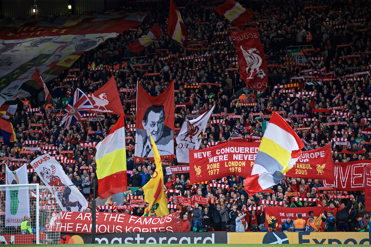 LIVERPOOL, ENGLAND - Tuesday, May 7, 2019: Liverpool supporters during the UEFA Champions League Semi-Final 2nd Leg match between Liverpool FC and FC Barcelona at Anfield. (Pic by David Rawcliffe/Propaganda)