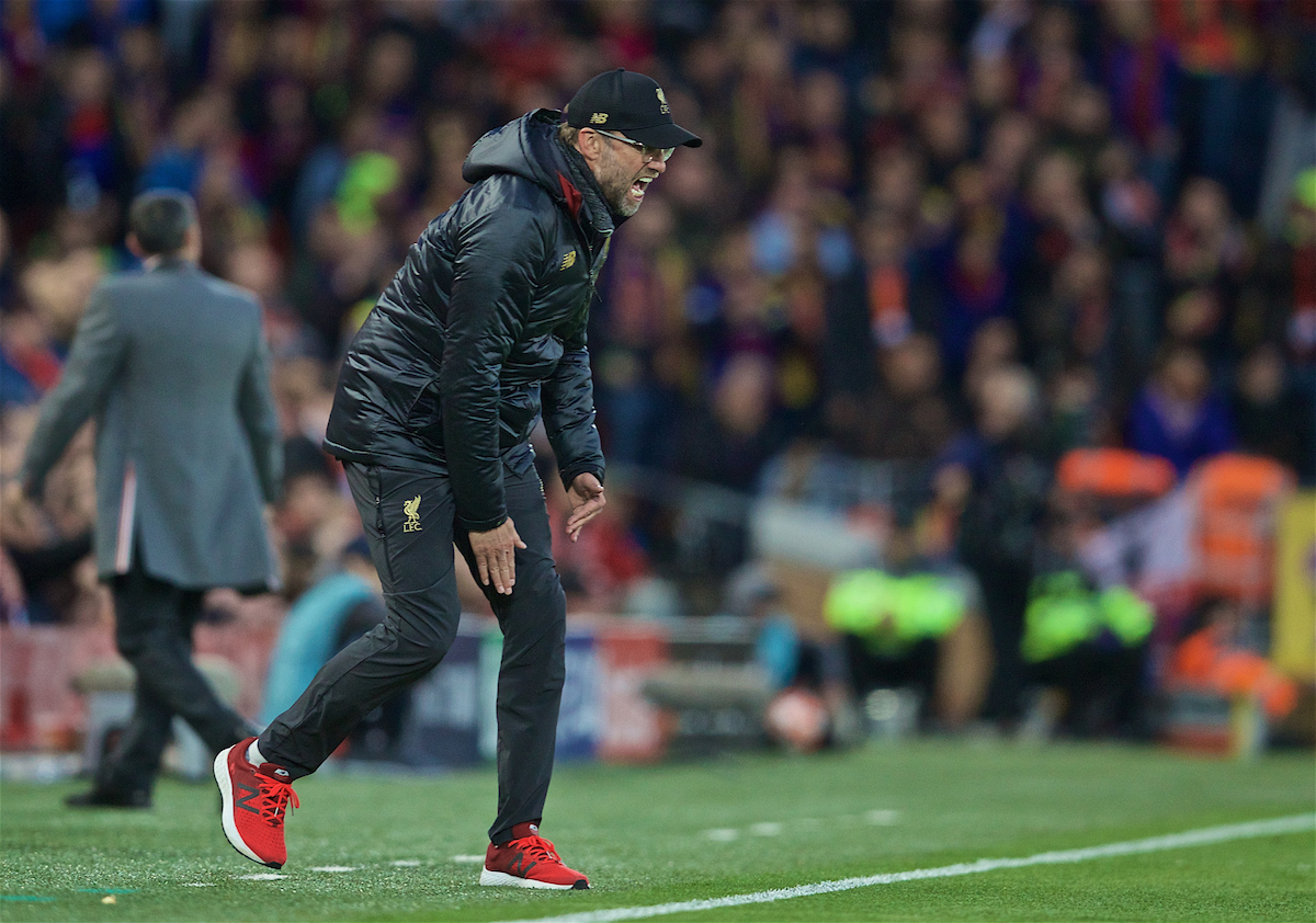 LIVERPOOL, ENGLAND - Tuesday, May 7, 2019: Liverpool's manager Jürgen Klopp reacts during the UEFA Champions League Semi-Final 2nd Leg match between Liverpool FC and FC Barcelona at Anfield. (Pic by David Rawcliffe/Propaganda)