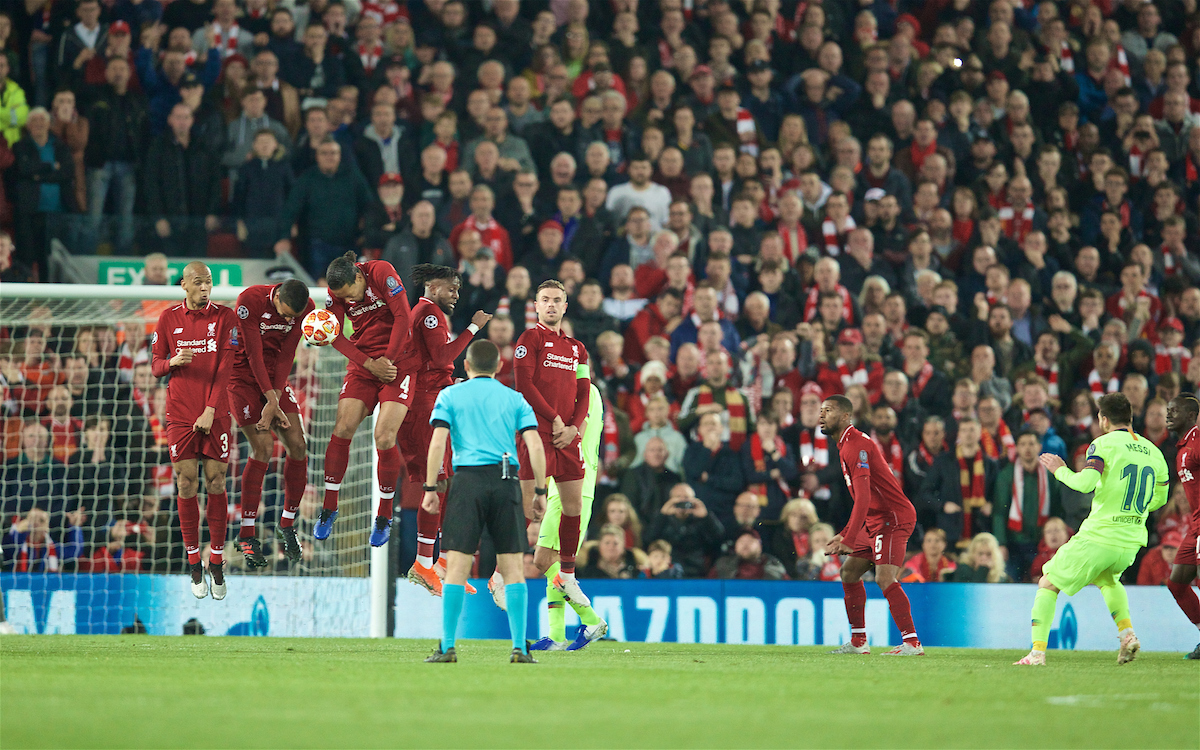 LIVERPOOL, ENGLAND - Tuesday, May 7, 2019: Liverpool players defend a free-kick from FC Barcelona's Lionel Messi during the UEFA Champions League Semi-Final 2nd Leg match between Liverpool FC and FC Barcelona at Anfield. (Pic by David Rawcliffe/Propaganda)