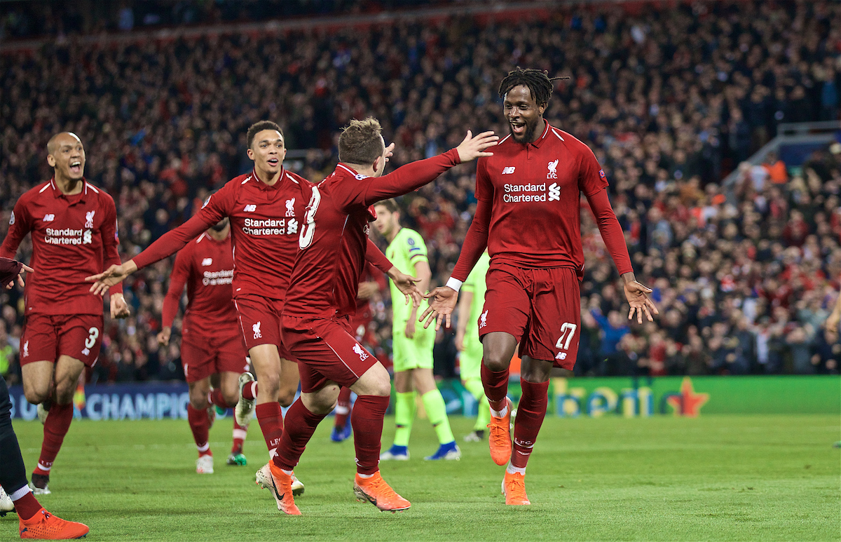 LIVERPOOL, ENGLAND - Tuesday, May 7, 2019: Liverpool's Divock Origi celebrates scoring the fourth goal with team-mates during the UEFA Champions League Semi-Final 2nd Leg match between Liverpool FC and FC Barcelona at Anfield. (Pic by David Rawcliffe/Propaganda)