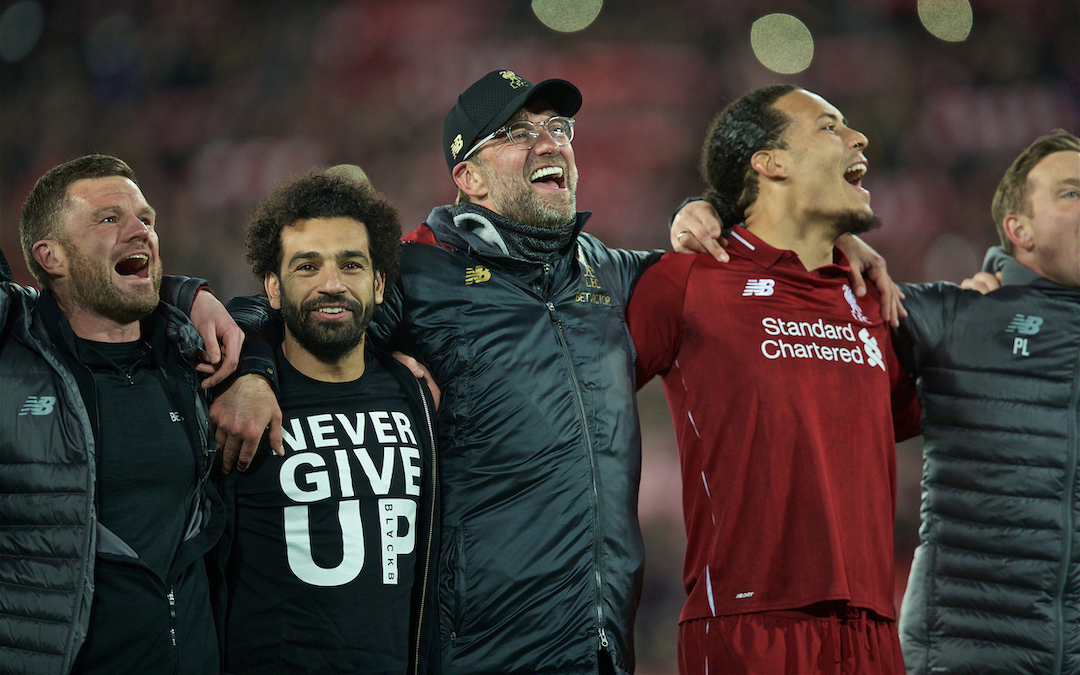 LIVERPOOL, ENGLAND - Tuesday, May 7, 2019: Liverpool's Mohamed Salah, manager Jürgen Klopp and Virgil van Dijk celebrate after the UEFA Champions League Semi-Final 2nd Leg match between Liverpool FC and FC Barcelona at Anfield. Liverpool won 4-0 (4-3 on aggregate). (Pic by David Rawcliffe/Propaganda)