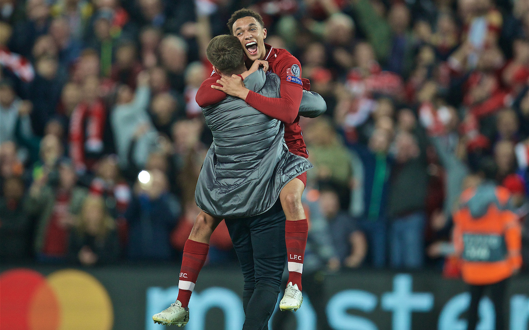LIVERPOOL, ENGLAND - Tuesday, May 7, 2019: Liverpool's Trent Alexander-Arnold celebrates after the UEFA Champions League Semi-Final 2nd Leg match between Liverpool FC and FC Barcelona at Anfield. Liverpool won 4-0 (4-3 on aggregate). (Pic by David Rawcliffe/Propaganda)