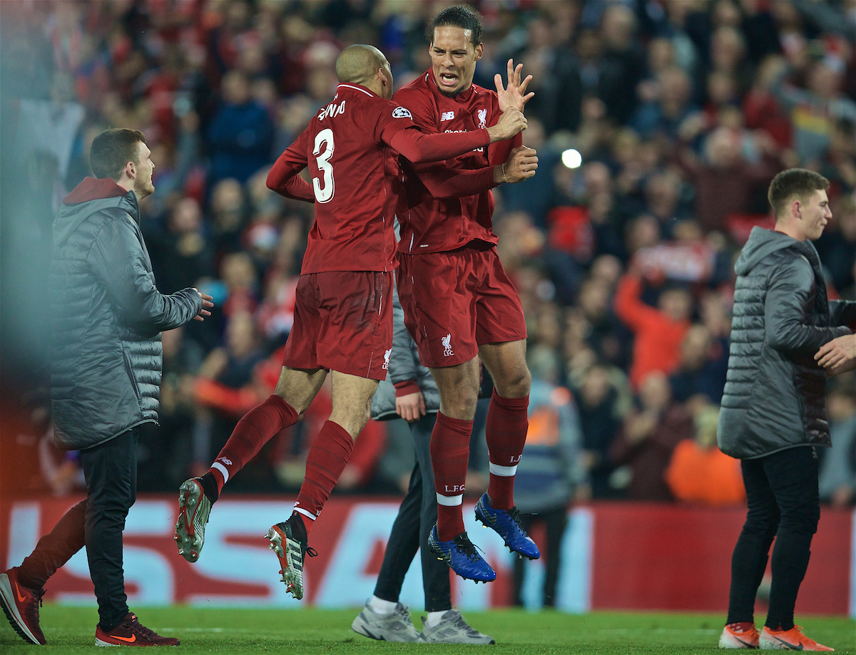 LIVERPOOL, ENGLAND - Tuesday, May 7, 2019: Liverpool's Virgil van Dijk (R) celebrates with Fabio Henrique Tavares 'Fabinho' after the UEFA Champions League Semi-Final 2nd Leg match between Liverpool FC and FC Barcelona at Anfield. Liverpool won 4-0 (4-3 on aggregate). (Pic by David Rawcliffe/Propaganda)