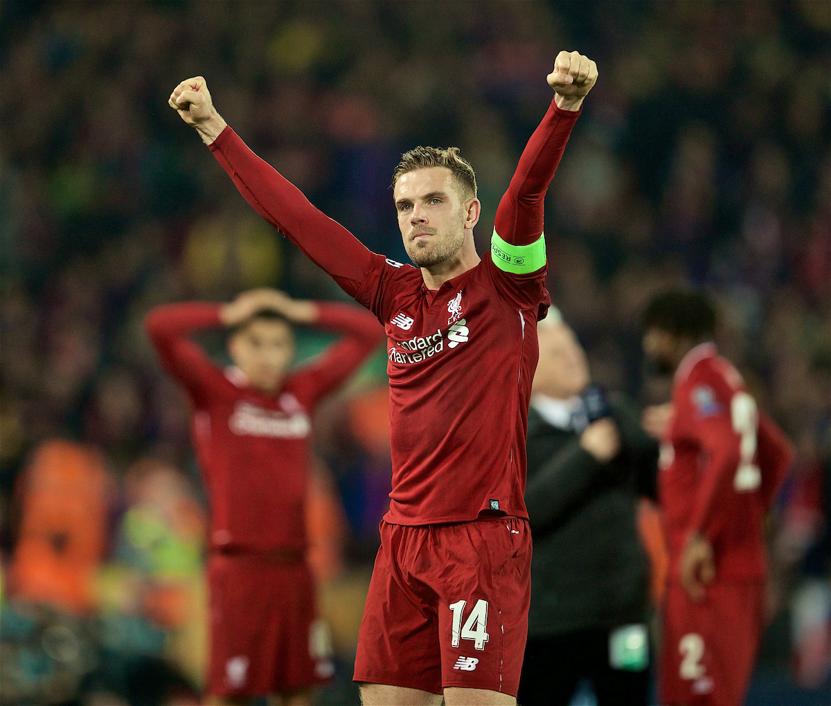 LIVERPOOL, ENGLAND - Tuesday, May 7, 2019: Liverpool's captain Jordan Henderson celebrates the 4-0 victory (4-3 on aggregate) over FC Barcelona after the UEFA Champions League Semi-Final 2nd Leg match between Liverpool FC and FC Barcelona at Anfield. (Pic by David Rawcliffe/Propaganda)