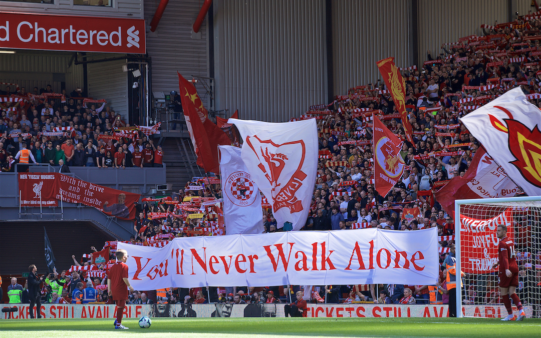 "LIVERPOOL, ENGLAND - Sunday, May 12, 2019: Liverpool supporters singing ""You'll Never Walk Alone"" before the final FA Premier League match of the season between Liverpool FC and Wolverhampton Wanderers FC at Anfield. (Pic by David Rawcliffe/Propaganda)"