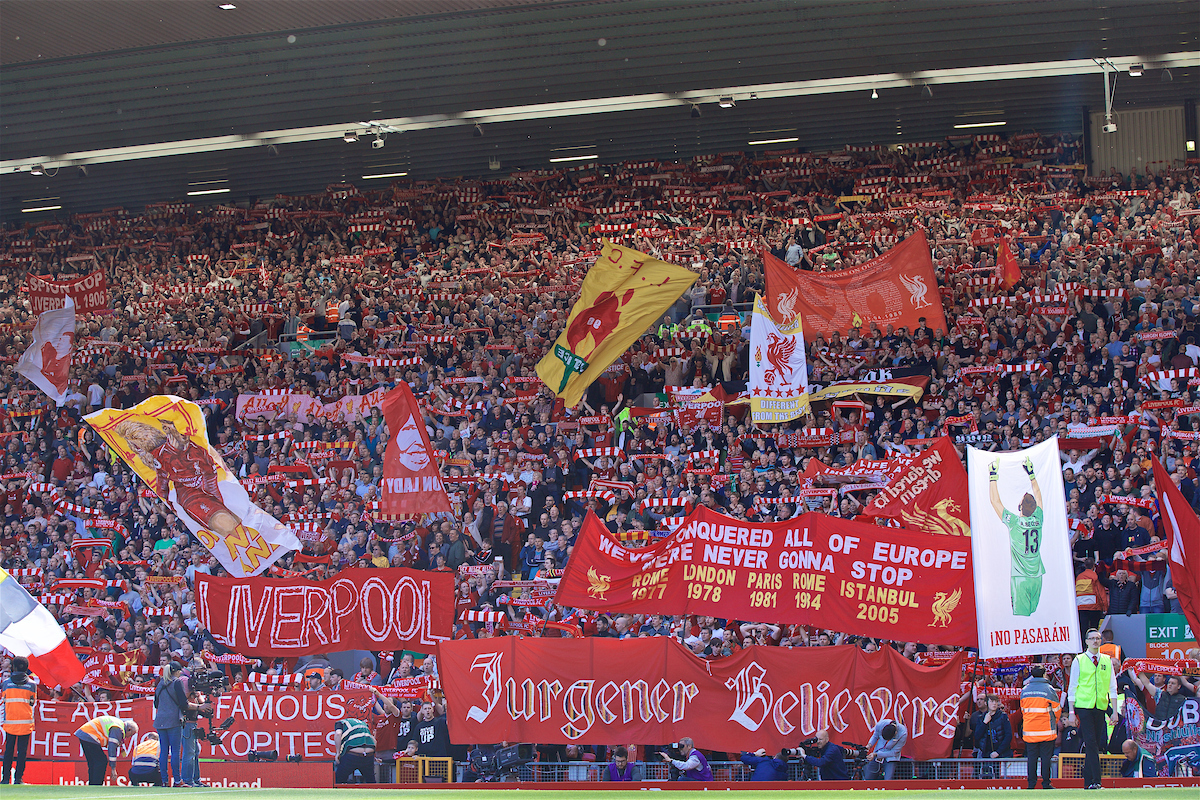 LIVERPOOL, ENGLAND - Sunday, May 12, 2019: Liverpool supporters before the final FA Premier League match of the season between Liverpool FC and Wolverhampton Wanderers FC at Anfield. (Pic by David Rawcliffe/Propaganda)