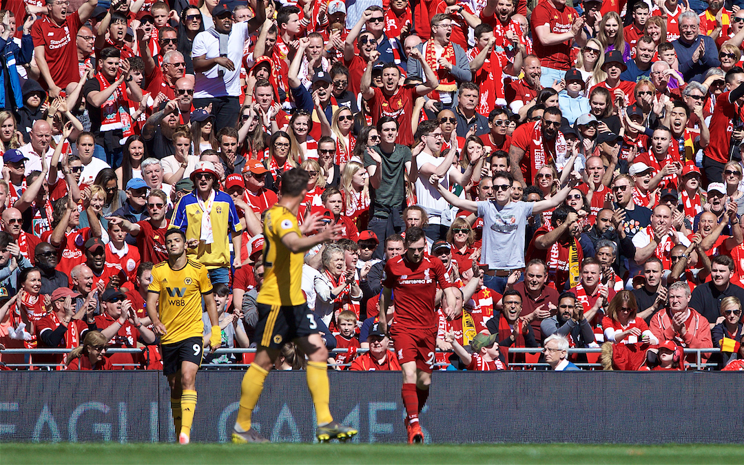 LIVERPOOL, ENGLAND - Sunday, May 12, 2019: Liverpool's Andy Robertson during the final FA Premier League match of the season between Liverpool FC and Wolverhampton Wanderers FC at Anfield. (Pic by David Rawcliffe/Propaganda)