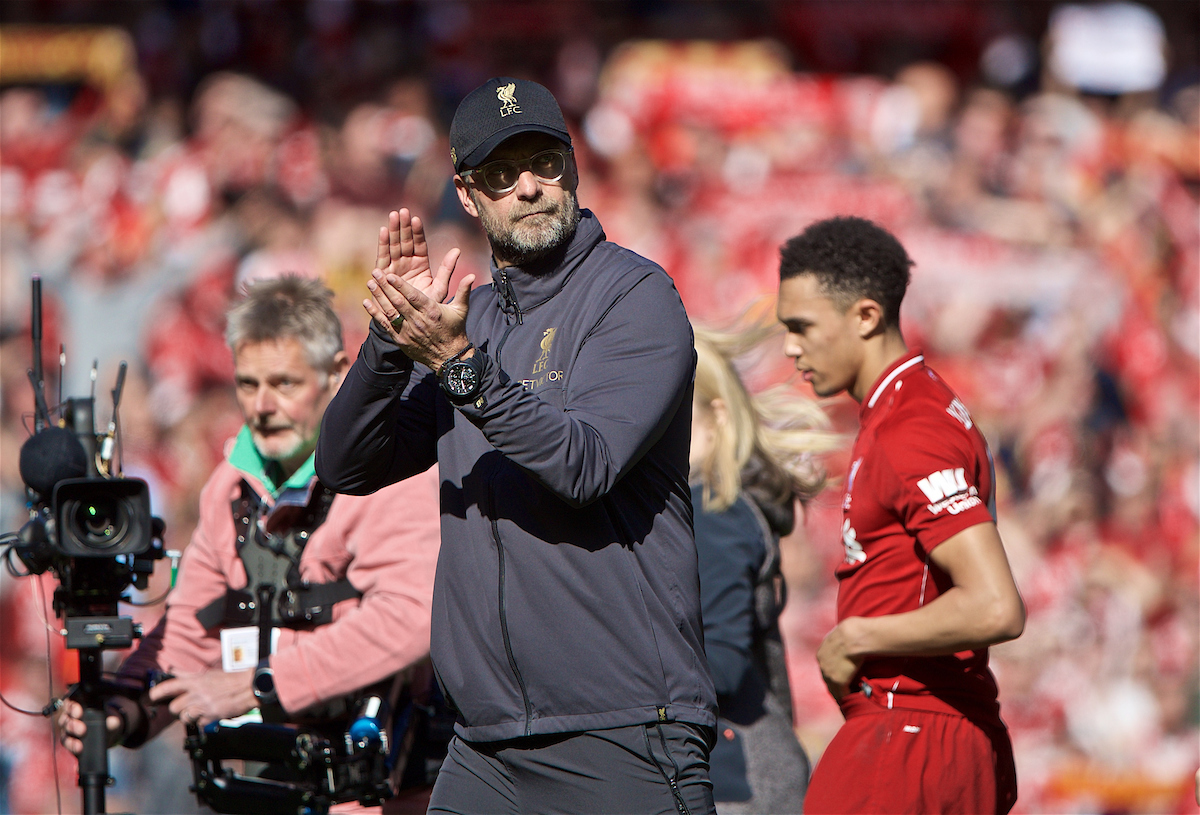 LIVERPOOL, ENGLAND - Sunday, May 12, 2019: Liverpool's manager Jürgen Klopp applaus the supporters after the final FA Premier League match of the season between Liverpool FC and Wolverhampton Wanderers FC at Anfield. (Pic by David Rawcliffe/Propaganda)
