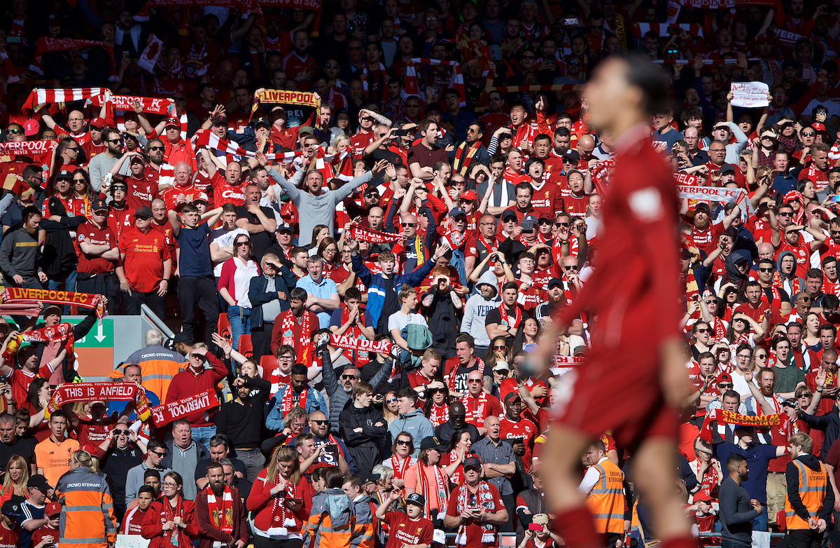 LIVERPOOL, ENGLAND - Sunday, May 12, 2019: Liverpool supporters celebrate 2-0 victory over Wolverhampton Wanderers after the final FA Premier League match of the season between Liverpool FC and Wolverhampton Wanderers FC at Anfield. (Pic by David Rawcliffe/Propaganda)